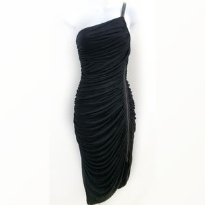 Halston Heritage ruched bodycon zippered LBD